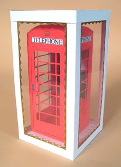 Card Craft / Card Making Templates - 3D Opening Telephone Box by Card Carousel