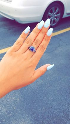 Sky blue acrylic coffin nails. So in love!!!! Are you looking for short coffin acrylic nail design that are excellent for this season? See our collection full of cute short coffin acrylic nail design ideas and get inspired!
