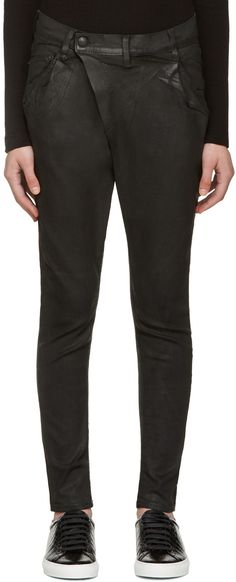 R13 - Black Waxed X-Over Jeans