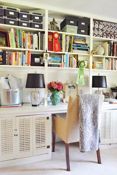 House Crashing: Lesley & Jeff | Young House Love  Love the shelving storage over the desk