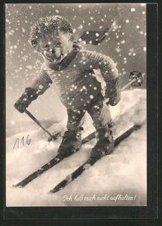 schöne AK Mecki beim Skifahren im Schneetreiben in Sammeln & Seltenes, Ansichtskarten, Motive | eBay