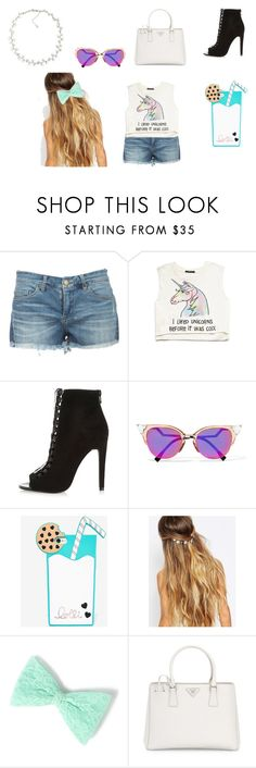"""""""A outfit"""" by jordanbond55 ❤ liked on Polyvore featuring Forever 21, River Island, Fendi, Lolli Swim, Johnny Loves Rosie, Prada and Carolee"""