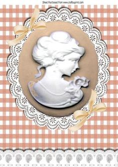 peach cameo and white lace with bows A4 on Craftsuprint - Add To Basket!