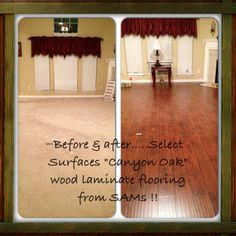 Before After From Carpet To My New Floor Select Surfaces Canyon Oak Wood Laminate Flooring From Sams