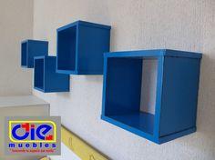 Repisas flotantes (cubo) En color azul.