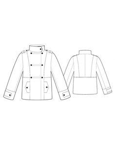Fashion Designer Sewing Patterns - Funnel-Neck Military Coat