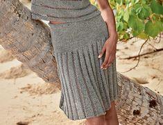 Схема и описание вязания на спицах юбки с имитацией складок из журнала «Verena. Спецвыпуск» №2/2016