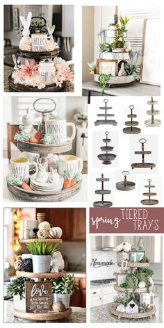 Tiered Trays for Spring! - Start at Home Decor Looking for the perfect spring tiered tray decor? Head over for tips on created the perfect tiered tray. Plus links to my favorite trays and some of my favorite items to put in trays!