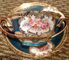 Ornate-Vintage-Imperial-Crown-China-Austria-Bullion-Cup-Saucer-Set
