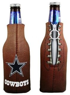 DALLAS COWBOYS BOTTLE COOLIE KOOZIE COOLER COOZIE by Kolder. $6.99. PRODUCT DESCRIPTION: Bottle Coolie TM - Constructed from scuba foam, the Bottle Coolie is decorated with either a baseball or football pattern and the logo of your favorite NFL, MLB or college team. Kolder's Bottle Coolie accommodates 12-ounce bottles and features an easy pull zipper and collapsible bottom. *Fits 12 oz. bottles *MSRP $7.99 *This auction is for (1) koozie
