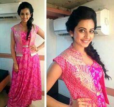 Pink bandhani gown. Anita Dongre