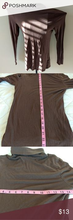 Brown Polo neck great for work Perfect fall color top light weight and very soft to the touch devided Tops Tees - Long Sleeve