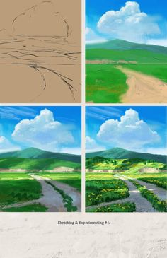 How To Paint A Landscape - Online Acrylic Painting Tutorial Acrylic Landscape, Landscape Drawings, Landscape Art, Landscape Paintings, Art Drawings, Painting Illustrations, Landscapes, Digital Painting Tutorials, Digital Art Tutorial