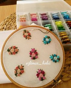 264 Likes, 4 Comments - Ozlemce_hobii ( Simple Embroidery, Hand Embroidery Stitches, Hand Embroidery Designs, Ribbon Embroidery, Beaded Embroidery, Cross Stitch Embroidery, Embroidery Patterns, Brazilian Embroidery, Fabric Painting