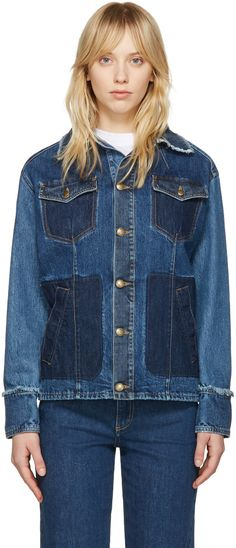 Long sleeve denim jacket in indigo. Fading, distressing, and shadow pocket detailing throughout. Raw edge at spread collar and cuffs. Button closure at front. Flap and welt pockets at body. Antiqued brass-tone hardware. Contrast stitching in tan.