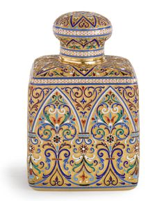 A Russian Gilded Silver and Enamel Tea Caddy, Lubavin, St. Petersburg, circa 1895 | Sotheby's