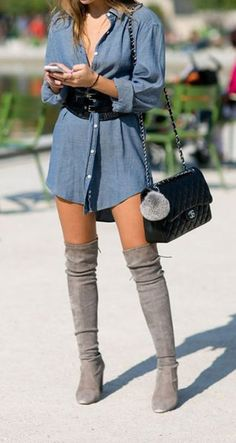 Classy elegant going out spring thigh high boots outfit ideas for women f. Summer Boots Outfit, Thigh High Boots Outfit, Womens Thigh High Boots, Preppy Fall Outfits, Over The Knee Boot Outfit, Casual Skirt Outfits, Knee High Boots, Stylish Outfits, Fashion Outfits