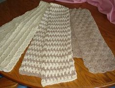 These look quick and easy.  I have made the middle scarf, and its super easy. Scarf Trio | AllFreeCrochet.com
