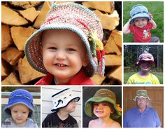 "Crochet - free pattern - cute ""fishing"" hat for kids, could also be a sun hat w/o fish"