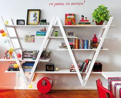 two ladders upside down to make a great shelf system! Genius.