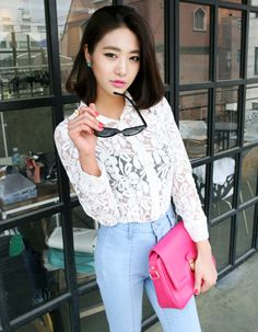 embroidered flower full lace mesh blouse  CODE: MGN270  Price: SG $54.60 (US $44.03)