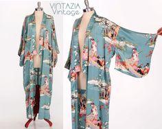 Vtg Asian Turquoise Silk Kimono Jacket Robe by VINTAZIAVintage