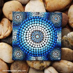 "Water Art, Aboriginal Dot Art, Hand Painted Original, Acrylic paint on Canvas Board Painting, Water colours, 4"" x 4"" , Blue decor"