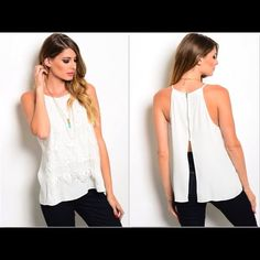 OFF WHITE EMBROIDERED TANK TOP W/BACK ZIPPER NWT and made by mustard seed in a size small fitting up to 34 inches in the chest or medium fitting up to 36 inches in the chest.  It is an off white color  with an embroidered lace overlay front and the back being split with an exposed silver zipper.  It is a higher neck and halter style tank top.  It is made of 100% polyester. Tops Tank Tops