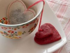 Homemade Teabags with Heart Cookies  Perfect for a tea party!