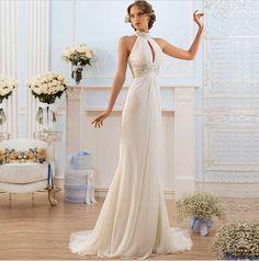 44b51d67f7f5 2017 stile greco elegante abiti da sposa di alta collo bead spiaggia abiti  da sposa da sposa moda hollow torna abiti da sposa-in Wedding Dresses from  ...