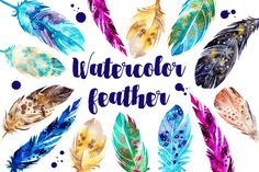 Watercolor feather set by martynmarin on @creativemarket