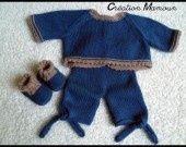 ensemble naissance en mérinos et acrylique couleur bleue jean