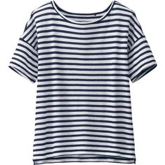 UNIQLO Modal Linen Striped Short Sleeve T (£4.90) ❤ liked on Polyvore