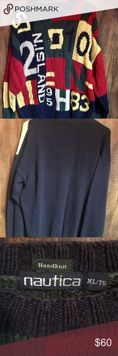 Vintage Nautica Cable Cord Multicolored Sweater Gently worn Vintage 90's Nautica Men's XL Cable Cord Multicolored Sweater. In great condition. Must have for anyone, who is hip hop fan of the 90's. Nautica Sweaters Crewneck