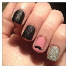 Mustache Nail Decals Set of 50 by MakeitStickDesigns on Etsy Love Nails, How To Do Nails, My Nails, Fall Nails, Moustache Nails, Mustache, Pretty Nail Colors, Pretty Nails, Nailart