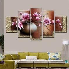 Best Wall Art Decor Picture Set Hand Painted Modern Abstract Pink Flowers In Vase Oil Painting On Canvas Landscape Sale No Framed Under $33.17 | Dhgate.Com