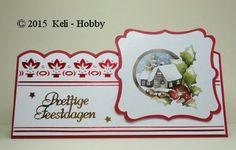 """""""Kerstblues""""-Linnen karton 34 Kerstrood en 01 Wit Patroon kaart en Hobbydots: Hobbydols 151 Hobbydots Kerstblues van Rie Kuipers Kaartbreedte veranderd in 19 i.p.v. de opgegeven 21, opleg wordt dan 18,5 cm. Breed. Stansvel Toppers SB10050 Precious Marieke Charming Xmas, de plaatjes op dit vel zijn in vorm, zoals u het plaatje ziet op de foto (zonder rood erachter), gestanst. U hoeft deze alleen nog voorzichtig uit te drukken en de puntjes waar deze aan vast heeft gezeten af te knippen."""