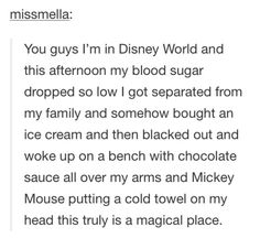 You guys I'm in Disney World and this afternoon my blood sugar dropped so low I got separated from my family and somehow bought an ice cream and then blacked out and woke up on a bench with chocolate sauce all over my arms and Mickey Mouse putting a cold towel on my head this truly is a magical place.