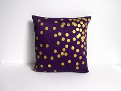 Purple and Gold Scattered Circles pillow - I am buying this right now!!!! ALL of this Etsy Seller's pillows are adorable!