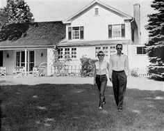 Marilyn Monroe and her fiance, Arthur Miller, on the lawn of