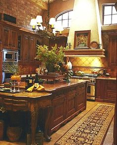 Rustic Tuscan kitchen design is a kitchen style that brings rich warm tones, Rustic cabinetry and Italian architecture together to create a gorgeous space. Tuscan Kitchen Design, Tuscan Design, Tuscan Kitchen Colors, Tuscan Art, Homey Kitchen, Kitchen Rustic, Kitchen Ideas, Tuscany Decor, Tuscany Italy