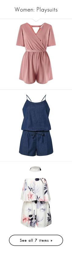 """""""Women: Playsuits"""" by southernbellewolf ❤ liked on Polyvore featuring jumpsuits, rompers, dresses, playsuits, shorts, jumpsuit, mink, petite, romper jumpsuit and miss selfridge"""