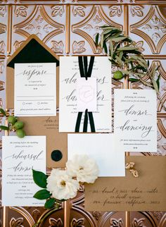 Gold, black and white are so elegant: http://www.stylemepretty.com/california-weddings/calistoga/2015/05/11/romantic-elegant-calistoga-fall-wedding/ | Photography: Erin Hearts Court - http://www.erinheartscourt.com/