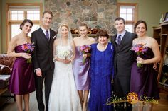 Pre- wedding family portrait. Sisters/bridesmaids in three different shades of purple for autumn wedding near Syracuse, New York