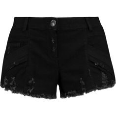 Pierre Balmain Distressed denim shorts ($145) ❤ liked on Polyvore featuring shorts, black, short shorts, pierre balmain, torn shorts, distressed shorts and slim fit shorts