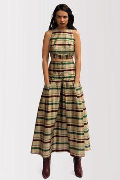 Tartan Skirt Fashion Maxi Elegant Style for Day or by ESENDY  Schottenmuster, Designer Kleider c66c6fbf6f