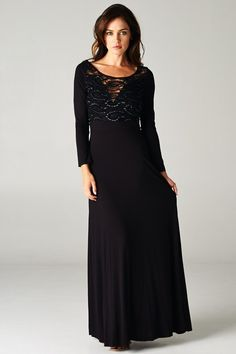Perfectly detailed lace dress is head turning. Irresistible flow makes it a must have maxi dress.