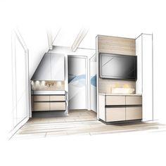 Bad Entwurf Handzeichnnung Perspektive Betz Interiors Innenarchitektur