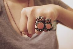 Adorable, and I love the color. #owls #rings #jewelry