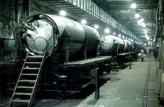 German missile fuel tanks on the assembly line in Tunnel 'B' of the underground Mittelbau industrial complex near Nordhausen, Germany. Photograph by Walter Frentz. Luftwaffe, Bunker, Ddr Brd, Germany Ww2, Military Pictures, Ww2 Pictures, Historical Images, Ancient Aliens, Military History